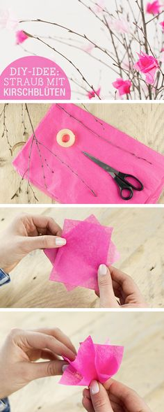 DIY-Anleitung: Osterstrauß mit Kirschblüten aus Papier verzieren / diy tutorial: decorate your easter flowers with handmade cherry blossoms, origami via DaWanda.com