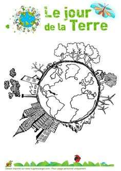 Earth Day colouring pages Save Earth Drawing, Drawing For Kids, Art For Kids, Earth Drawings, Parts Of The Earth, Earth Day Crafts, Save Our Earth, French Classroom, The Lorax
