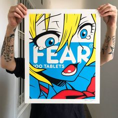 "Ben Frost (AU) ""FEAR"", 2016 (blue edition) 4C screenprint on Munken Pure Paper, 300g/m2 40*50cm, Edition of 36 The print ships signed, numbered and blindstamped  Release date: 9am 31. March (GMT+1) Spoon Full of Sugar - Exhibition PDF  During his month-long residency in Vienna the controversial painter and street artist Ben Frost showcases a unique body of work critiquing our med... Cereal Packaging, Consumerism, Street Artists, Popular Culture, Prints For Sale, All Print, Frost, Screen Printing, Pure Products"