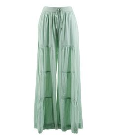 Another great find on #zulily! Mint Leaf Tiered Drawstring Palazzo Pants - Women by Peppermint Bay #zulilyfinds
