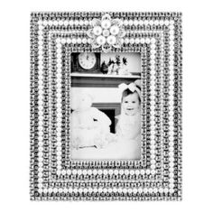 Rectangular Pearl & Crystal Picture Frame
