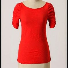 Anthropologie top Red top by Little Yellow Button for Anthropologie. Super cute sleeve and bottom detail! Anthropologie Tops Tees - Short Sleeve