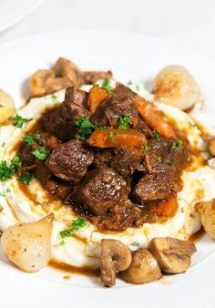 Julia Child-inspired, so I decided to make her famous beef bourguignon. But, I didn't stop there, I also made her garlic mashed potatoes (which just may be the best I've had). Meat Recipes, Cooking Recipes, Oven Recipes, Sirloin Recipes, Recipies, Potato Recipes, Fondue Recipes, Kabob Recipes, Cooking Pork