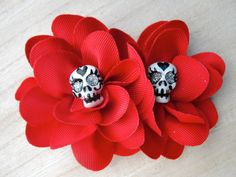 Clay Sugar Skull Red Hair Flower Ribbon Bow Flower Day Of The Dead Mexican Rockabilly Retro Burlesque Heart Amor Corazon