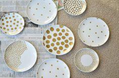 Easy DIY: Gold Polka Dot Plate Art :: Hometalk