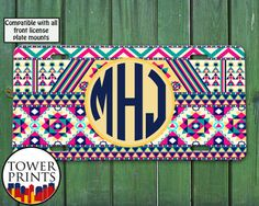 Tribal Pattern Monogram Aztec Colorful Rainbow Blue Initials Cute Accessory For Front License Plate Car Tag One Size Fits All Vehicle Custom