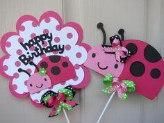 Ladybug Happy Birthday Sign Cake Toppers