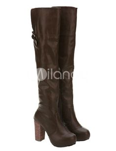 Grace Chunky Heel Bow PU Woman's Over the Knee Boots - Milanoo.com