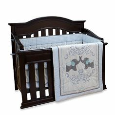 The Nurture Imagination Elephant Jubilee collection features an adorable elephant-themed crib bedding and accessories in grey, powder blue, charcoal, and white. The sweet design is perfect to trumpet your baby& arrival.
