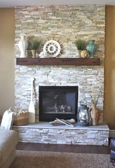 Corner faux fireplace faux fireplace stand fireplace mantle stand full size of fireplace remodel ideas on Stone Fireplace Mantel, Stacked Stone Fireplaces, Fireplace Redo, Rustic Fireplaces, Fireplace Remodel, Living Room With Fireplace, Fireplace Surrounds, Fireplace Design, Fireplace Ideas