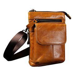 Hot Fashion Men Leather Leisure Travel Messenger Shoulder Hip Bum Belt Crossbody Bag Yellow Brown