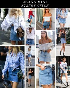 Denim Skirt, Ruffle Blouse, Street Style, Skirts, Women, Fashion, Moda, Urban Style, Skirt