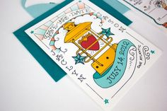 Oh So Beautiful Paper: Jaclyn + Jason's Illustrated Nautical Wedding Invitations