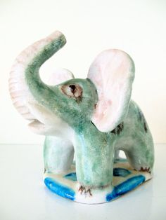 1950's Guido Gambone Elephant Figurine, Donkey Mark