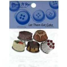 Dress It Up Embellishment Buttons  Let Them Eat Cake from @fabricdotcom  These novelty embellishment buttons are the perfect finishing touch to apparel and craft projects.  Buttons feature a shank attachment. Package contains at least 4 pieces.  Please purchase sufficient amounts as design may vary in the package.