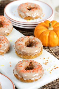 Two Ingredient Baked Pumpkin Spice Doughnuts, ready in just 20 minutes! | TheSuburbanSoapbox.com