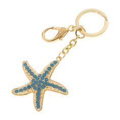 Textured Gold and Blue Stone Starfish Key Ring from icing