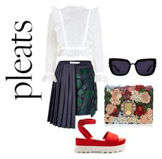 A fashion look from August 2017 featuring ruffle blouse, navy blue skirt and ankle strap flats. Browse and shop related looks. Kendall, Kylie, Mary Katrantzou, Miu Miu, Polyvore, Collection, Shopping, Design, Women