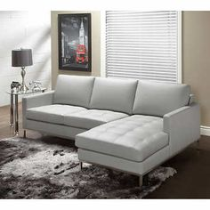 Sorrento Slate Top Grain Leather Living Room Sofa with Right Hand Facing Chaise