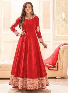 Red Art Silk Anarkali Suit