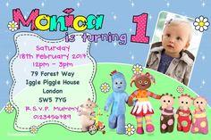 Personalised Iggle Piggle Upsy Daisy Girls Birthday Party Invitations