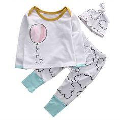 >> Click to Buy << 3pcs Toddler Baby Girls Boys Cotton Balloon T-shirt Tops+ Long Pants Leggings +Hat Outfits Set #Affiliate