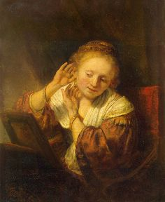 Rembrandt 'Young Woman Trying Earrings' 1654 Oil on panel