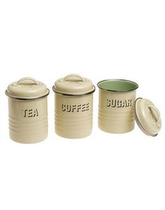 Tea, Coffee, Sugar Canister Set     A blast from the past, these retro metal canisters add form and function to your countertop. Includes three labeled canisters: tea, coffee, and sugar. Lids have airtight seals, keeping contents fresher longer.   ($39.99 for set of three, target.com)      Read more: Decorative Metal Kitchen Canisters - Colorful Metal Canisters for Kitchen - Country Living