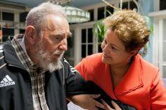 Imagem divulgada nesta terça-feira (28) mostra encontro da presidente Dilma Rousseff com o ex-presidente de Cuba, Fidel Castro, em Havana, na segunda-feira (27) - http://epoca.globo.com/tempo/fotos/2014/01/fotos-do-dia-28-de-janeiro-de-2014.html (Foto: AP Photo/Cubadebate, Alex Castro)