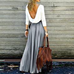 Alluring Long Sleeve Maxi Draped Open Back Dress Drape Maxi Dress, Dress Skirt, Maxi Skirts, Prom Dress, Pleated Dresses, Pleated Maxi, Floryday Dresses, Jean Skirts, Backless Maxi Dresses