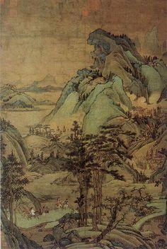 五代-董源-江堤晚景图轴-台北故宫-元摹本   Painted by the Southern Tang Kingdom…   Flickr