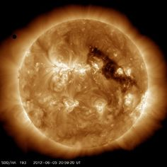 Venus Transit by SDOCredit: NASA/SDO/GSFCThe planet Venus (upper left) approaches the sun for a rare solar transit on June 5, 2012. This image was captured by NASA's Solar Dynamics Observatory.
