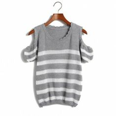 Gray pullovers striped puff sleeve short sleeve o-neck fashion regular Print Blouses