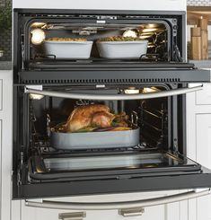 GE PT9200SLSS Built In Single-Double Electric Wall Oven with True Convection, Meat Probe, Self-Clean, Pizza Mode, Rapid Preheat, Warm, Child Lock and 5 cu. ft. Total Capacity