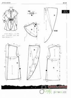 Shawl collar pattern no. Barbie Patterns, Coat Patterns, Sewing Patterns Free, Vintage Patterns, Clothing Patterns, Sewing Coat, Sewing Clothes, Collar Pattern, Jacket Pattern