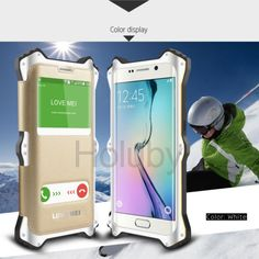 Lovemei MK 2 Double Window View Leather+ Metal+ Shockproof Silicone Case for Samsung Galaxy S6 Edge G9250 - White