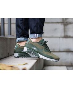 Nike Air Max 90 Ultra Moire Olive Carbon Green Trainers Mens Sale UK