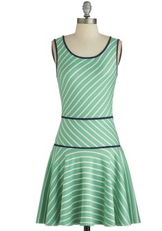 Alma Mater of Fact Dress. A stroll down familiar halls and paths takes a memorable turn when you arrive in this striped mint dress! #mintNaN