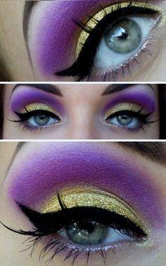 Golden-purple eye make-up-- could make good witch makeup! Makeup Tips, Beauty Makeup, Eye Makeup, Hair Makeup, Vogue Makeup, Night Makeup, Gold Makeup, Beauty Art, Makeup Tutorials