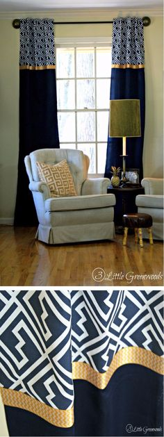 Mixing of two different prints can bring a beauty to your home. In this project, prints have been used and they are separated with wide golden ribbon. create some tabs just behind the printed pattern for hanging it and these drapes are totally no sew.