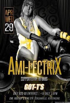 Ami Lectrix at GOT-T'S Pub tonight, 29 April. R20 Entrance Club Dance Music, Slush Puppy, Edm, Entrance, Kicks, Wonder Woman, Superhero, Entryway, Door Entry