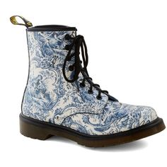 My So-Toile Life Boot ($140) ❤ liked on Polyvore featuring shoes, boots, blue, 90s, casual, leather, print, quirky, vintage inspired and laced up boots