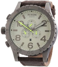 cool Nixon A124-1388-00 Mens 51-30 Chrono Gunmetal and Brown Leather Watch  –