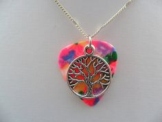 Confetti color guitar pick necklace with tree of life charm