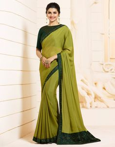 Light Green and Green Embroidered Silk Georgette Saree features a beautiful silk georgette saree. Embroidery work is completed with zari, thread, and stone. Trendy Sarees, Fancy Sarees, Party Wear Sarees, Stylish Sarees, Bollywood Sarees Online, Indian Sarees Online, Bollywood Lehenga, Indian Designer Sarees, Indian Designer Wear