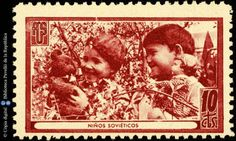 Spanish Civil War Stamp: Association of Friends of the Soviet Union San Diego Library, Postage Stamp Collection, Soviet Union, Stamp Collecting, Barcelona, Spanish, War, Digital, Friends