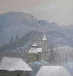 """Winter"" Oil on canvas. 30*30cm."