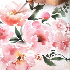 Painting #peonies via www.instagram.com/juliesongink @juliesongink