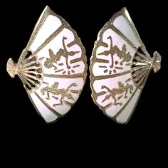 New to VintageVybe on Etsy: Vintage Sterling Silver Earrings White Niello Siam Fan (36.00 USD)