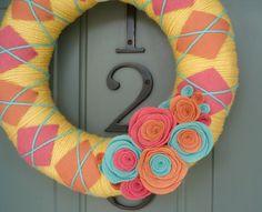 Yarn Wreath Felt Handmade Door Decoration - Spring Plaid 12in. $45.00, via Etsy.
